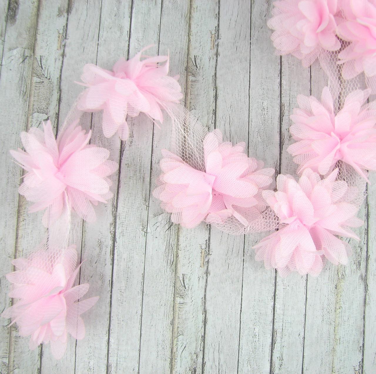 Шифоновые цветы 4см, бледно-розовые 1шт