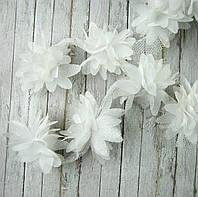 Шифоновые цветы 4см, белые 1шт