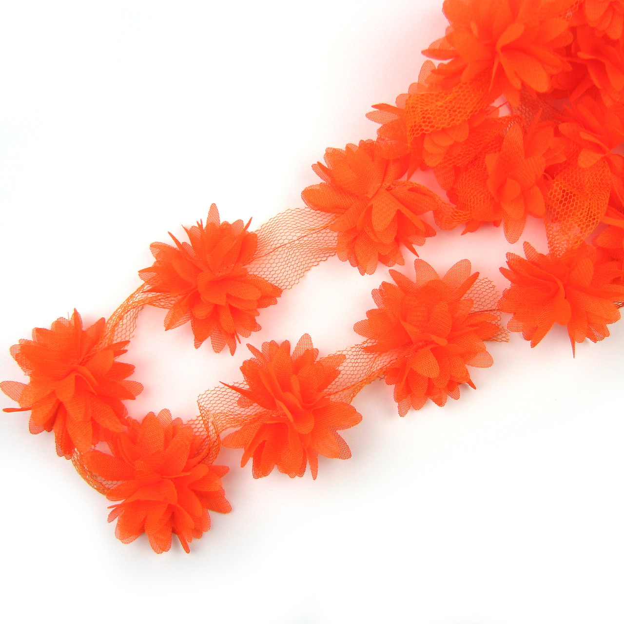 Шифоновые цветы 4см, оранжевые 1шт