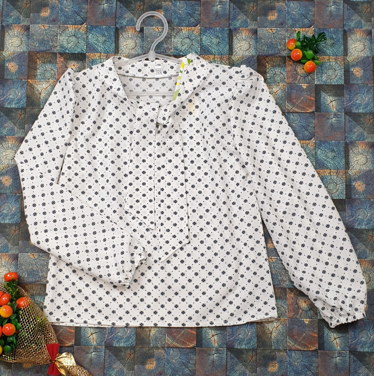 Блузка с длинным рукавом Бант 128-152 молочный