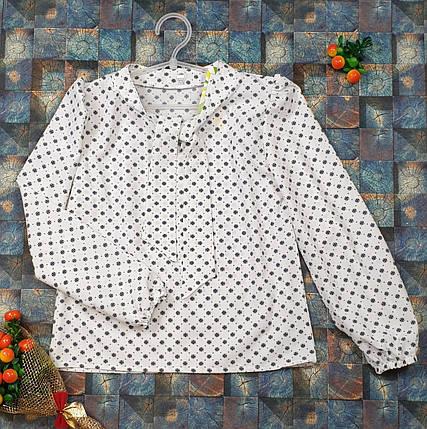 Блузка с длинным рукавом Бант 128-152 молочный, фото 2