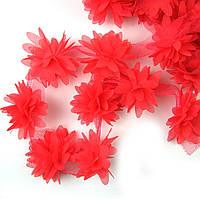 Шифоновые цветы 4см, кораловые 1шт