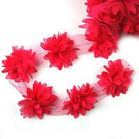 Шифоновые цветы 4см, малиновые 1шт