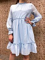 Платье женское ажурное (голубое)