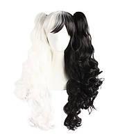 Парики с хвостиками, 65см, Черно-белые волнистые волосы, косплей, анимэ