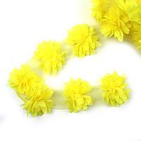 Шифоновые цветы 4см, желтые 1шт