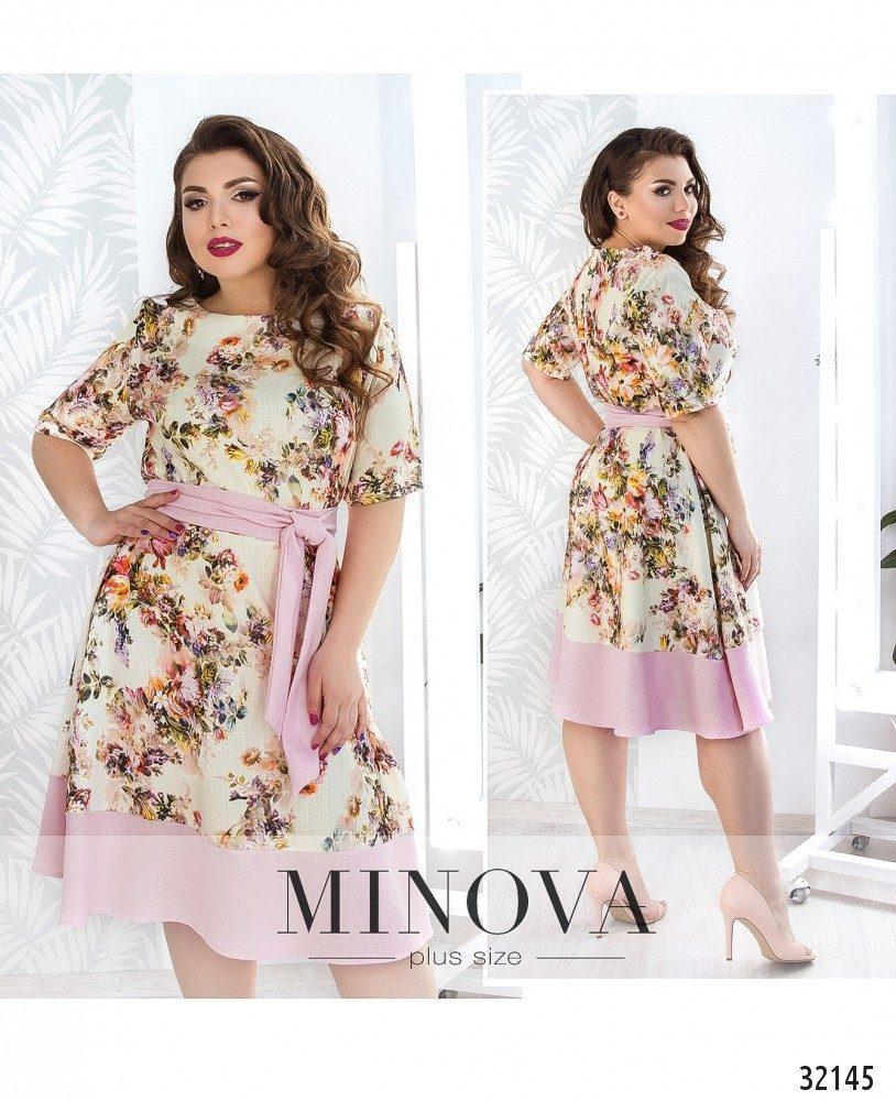 Женственное приталенное платье в цветок р. с 50 по 60