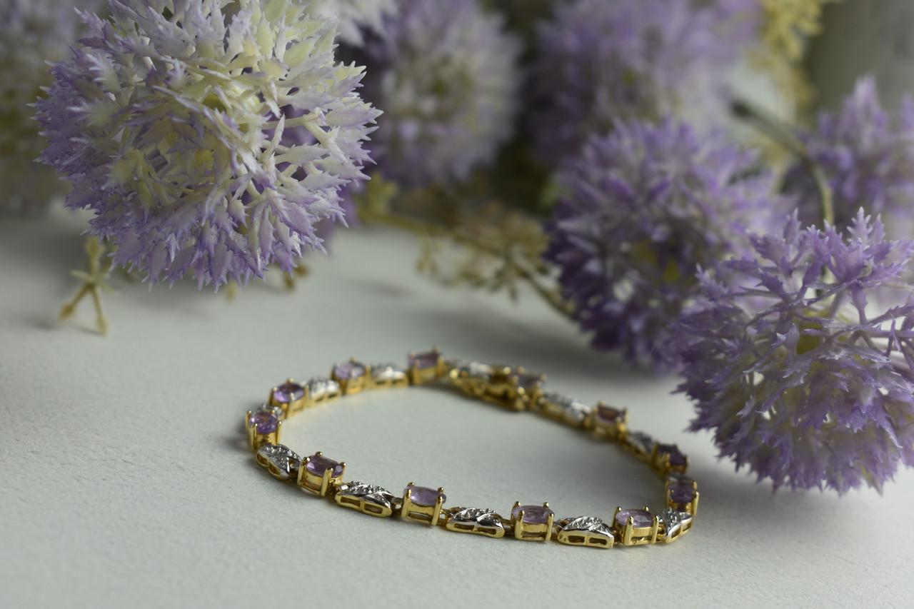 Срібний браслет в позолоті з Фіолетовим Танзанитом