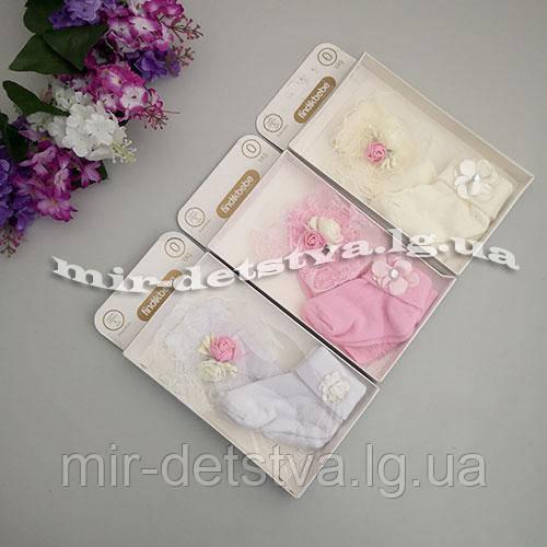 Подарочный набор для новорожденных (Турция) (носочки + повязка с бантом) ост.1 уп розовый