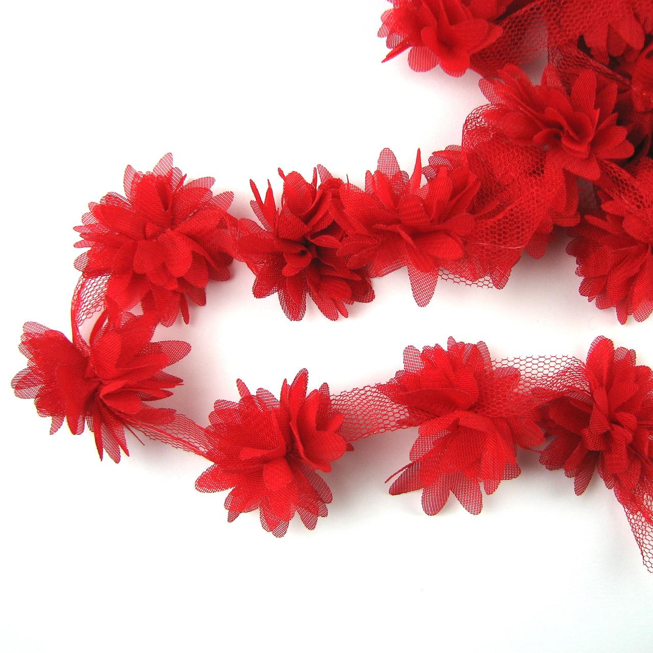 Шифоновые цветы 4см, красный 1шт