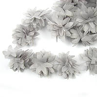 Шифоновые цветы 4см,серый 1шт