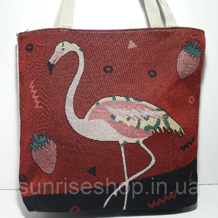 Сумка пляжная текстильная летняя Фламинго опт