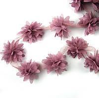 Шифоновые цветы 4см, цвет баклажана 1шт
