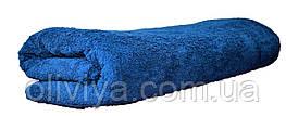Простынь махровая 100% хлопок темно-синяя