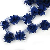Шифоновые цветы 4см, синий 1шт
