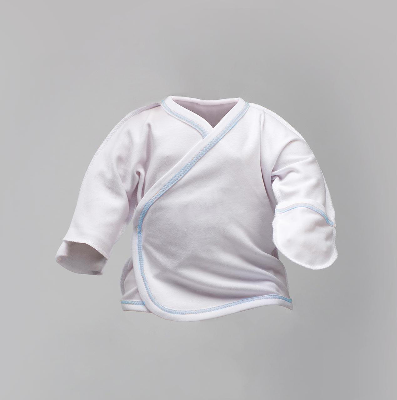 Распашонка белая для новорожденных, отстрочена голубой нитью Интерлок |  Льоля Victory для хлопчиків від 0
