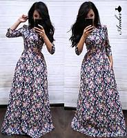 Платье женское красивое длинное в пол нежный цветочный принт Smma3241