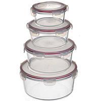 Набор Контейнеров пищевых круглых стекляных  A-PLUS 4 шт (1078)