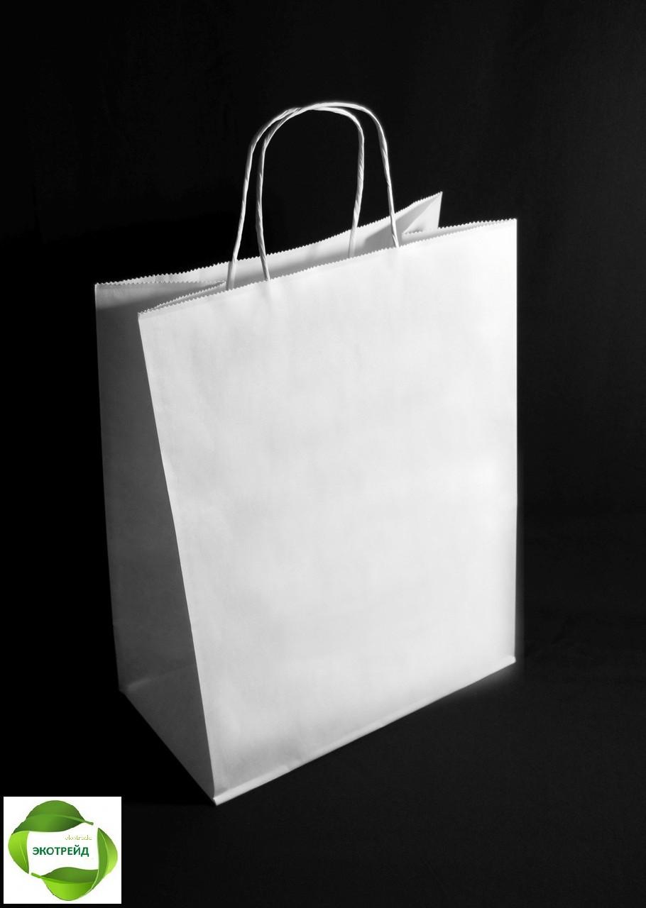Пакет бумажный белый с крученными ручками 260х140х335
