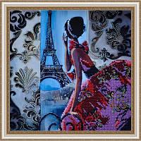 Картина вышитая бисером. Париж. Ручная вышивка.