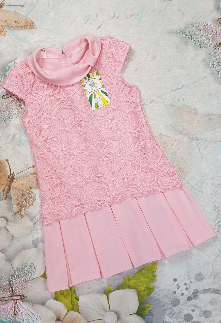 Детское платье  для девочки на лето  р.140-158 костюмка+гипюр
