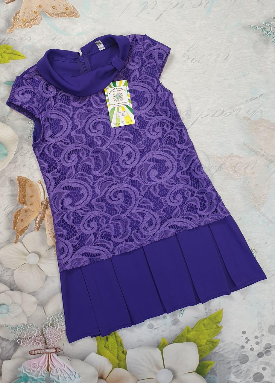 Детское летнее платье  для девочки на лето  р.116-134 костюмка+гипюр