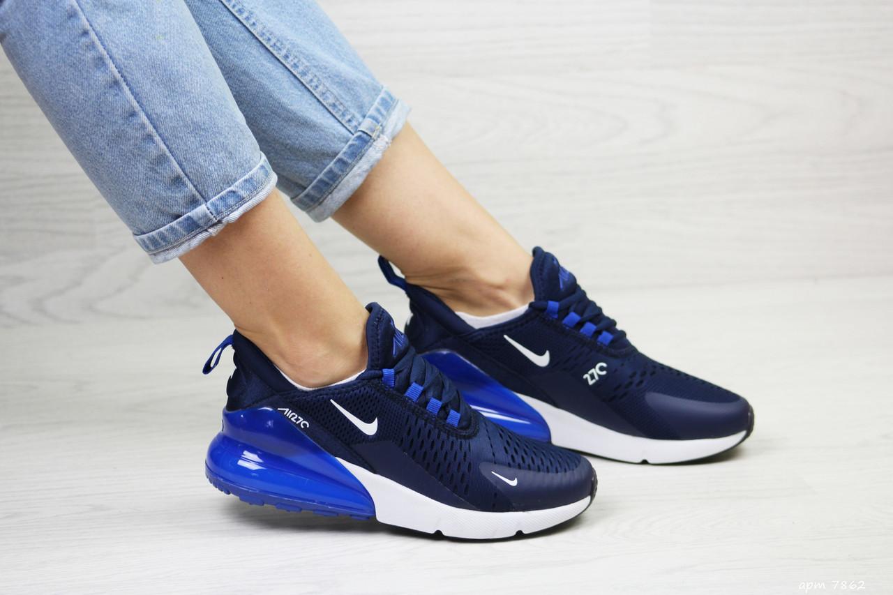 Летние подростковые кроссовки Nike Air Max 270, сетка,синие