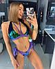 Цветной раздельный женский купальник с пайетками-хамелеон