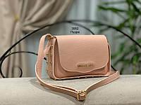 Маленькая пудровая женская сумочка сумка через плечо светлая экокожа