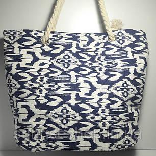 Сумка текстильная летняя для пляжа и прогулок абстракция синяя, фото 2