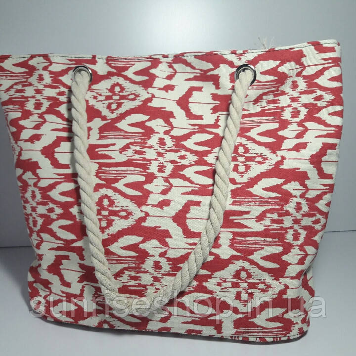 Сумка текстильная летняя для пляжа и прогулок абстракция красная