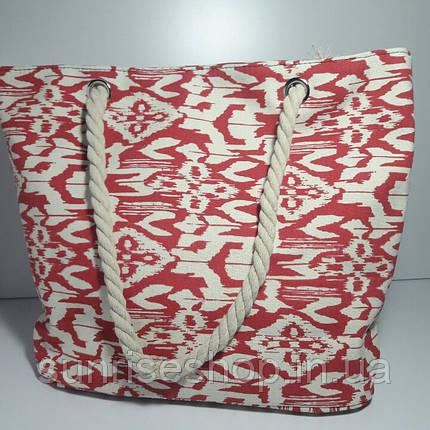 Сумка текстильная летняя для пляжа и прогулок абстракция красная, фото 2
