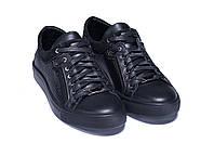Мужские кожаные кеды ZG GO GO Man Black spring черные, фото 1