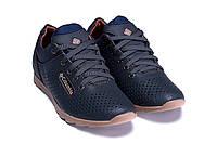 Чоловічі шкіряні літні кросівки, перфорація ColumbiaSB blue, фото 1
