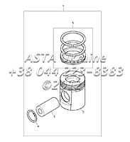 Поршни и кольца, двигатель 1104C-44Т, RG38101 Г1-2-3