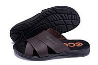 Мужские кожаные летние шлепанцы-сланцы в стиле Ecco Biom brown коричневые