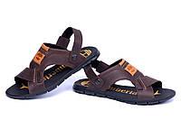 Мужские кожаные сандалии в стиле Timberland brown коричневые