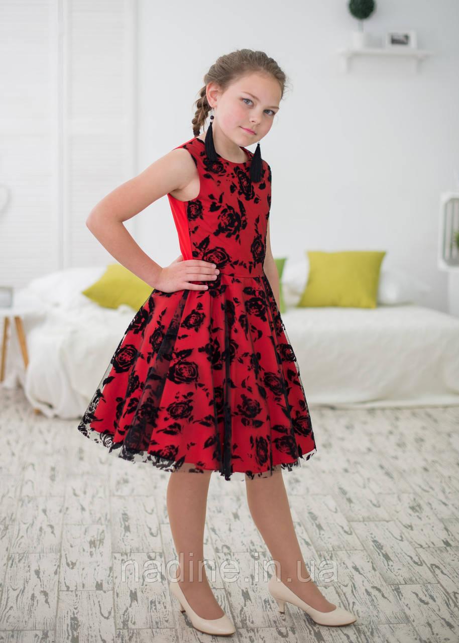 Платье Red Rose Eirena Nadine (125-22) c юбкой солнце на рост 122 см Красный