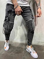 Джинсы мужские черные рваные крутые/ джинсы весна / ТОП КАЧЕСТВО / зауженные мужские джинсы темно серые