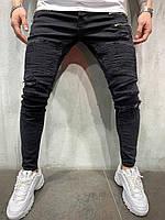 Джинсы мужские черные рваные крутые/ джинсы весна / ТОП КАЧЕСТВО / зауженные мужские джинсы черные