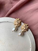 Красивые серьги с натуральным речным жемчугом