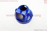 Пластик корпус  под заднюю круглую фару на мопед Дельта синяя