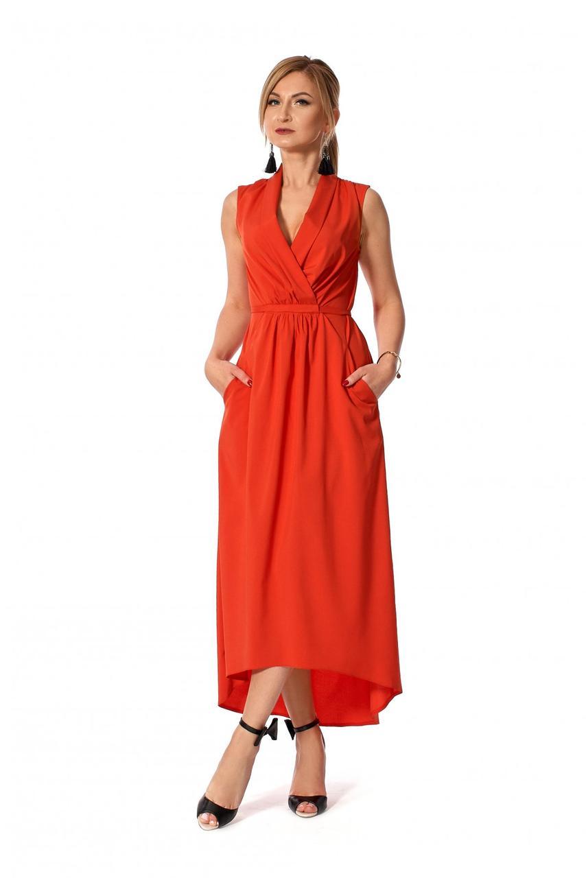 a9dfa858ad660a0 Модное летнее платье с асимметричным низом красного цвета р.50 ...