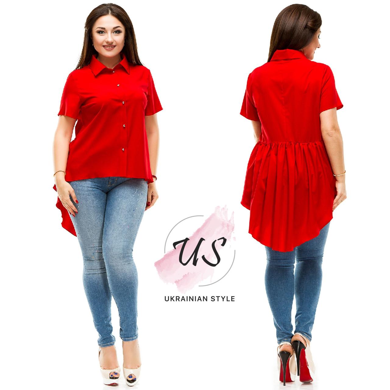 e2a76b9c68611d3 Женская батальная рубашка, удлиненная сзади. 6 цветов!: продажа ...