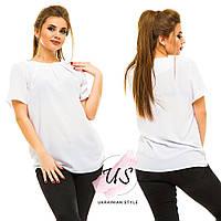 Женская батальная белая шифоновая блуза.