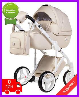 Детская коляска универсальная 2 в 1 Adamex Luciano кожа 100% 67S бежевая кожа (Адамекс Лучиано) Польша