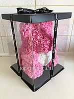 Мишка из роз 40 см в Подарочной Коробке. Розовый медведь с белым 3D сердцем. ОРИГИНАЛ !