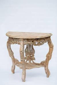 Столик резной деревянный BST 530278 80×85×40 см бежевый