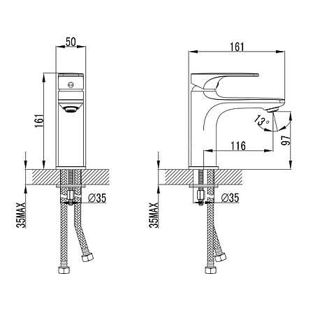 BILINA смеситель для раковины, хром, 35 мм, фото 2