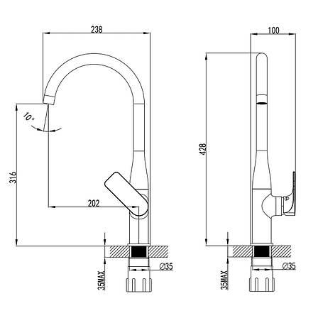 BILINA смеситель для кухни, хром, 35 мм, фото 2